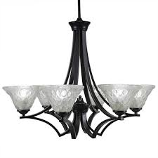 toltec lighting zilo matte black six light chandelier with italian bubble glass
