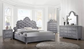 Meridian Bedroom Furniture Sophie Bedroom Set In Gray Velvet By Meridian Furniture Get