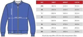 Size Chart Bomber Jacket 01 Eraine Creative Custom Clothing