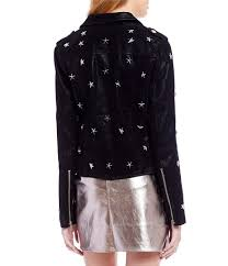 moto womens sugarlips star studded faux leather moto jacket black gift to live
