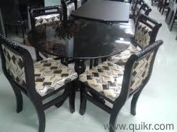 dinning table 4 chair round glass in teakwood