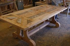 Image Pedestal Custom Made Custom Trestle Dining Table With Leaf Extensions Built In Reclaimed Wood Custommadecom Hand Crafted Custom Trestle Dining Table With Leaf Extensions Built
