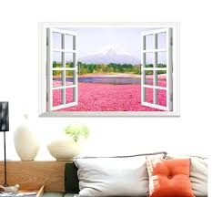 window view flower sea wall stickers art decal mural wallpaper pink scenery living room decor graphic