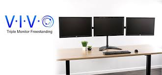 brand new triple monitor stand stand v003p from vivo clear up valuable work space on your desk with this heavy duty three monitor mount