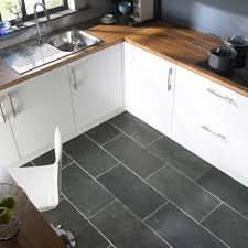 Modern Kitchen Tile Flooring Modern Gray Kitchen Floor Tile Idea And Wooden Countertop Plus