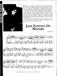 Contains printable sheet music plus an interactive, downloadable digital sheet music file. Say Fazil Jazz Fantasy On Mozart Jazz Music Entertainment General