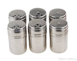 stainless steel e bottles salt sugar e pepper shaker seasoning cans with rotating cover for kitchen cooking and outdoor barbecue bbq jar set shakers