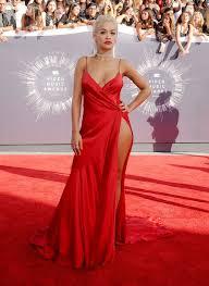 Design Your Own Red Carpet Dress Rita Ora Red Slit Prom Dress Vma 2014 Red Carpet Lunss