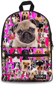 <b>FOR U DESIGNS</b> 15 inch Fashion Animal Pug Backpack <b>Girls</b>