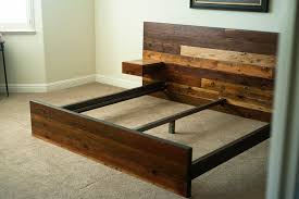 reclaimed wood king platform bed. Reclaimed Lumber King Platform Bed // Redwood, Fir And Steel Wood