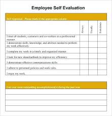 Free Employee Evaluation Forms Templates Awesome Sample Self