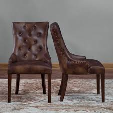 belham living thomas leather tufted dining chair  set of
