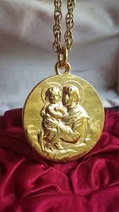 spanish saint anthony medal pendant 18k gold plated catholic jewelry religious medal gift st anthony art nouveau