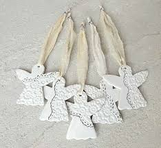 Porcelain Christmas decorations. White & silver. Ceramic ...