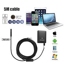 iphone inspection camera. endoscope camera wifi borescope 5m rigid cable inspection 2.0 megapixels 6 leds 8.5mm 720p iphone 7