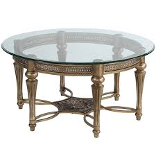 magnussen home galloway glass round cocktail table with glass top 37506 bellacor