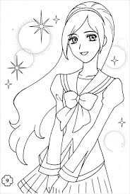 Small Picture 9 Anime Girl Coloring Pages JPG AI Illustrator Download Free