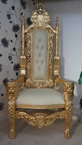 Ornate Bedroom Chairs Lion Throne Chair In Gold Leaf Cream Easiclean Faux Leather