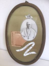 rare large antique vatican relic pope pius x behind glass in oval frame with wax seal italy mid 20th century