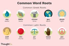 ilrated depiction of common greek and latin word roots