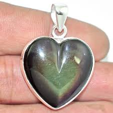 image is loading april natural rainbow obsidian eye heart 925