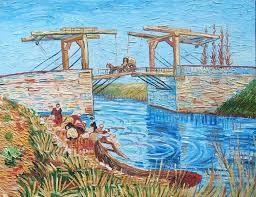 the langlois bridge at arles with women washing 13 by vincent van gogh