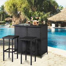 catamaran outdoor patio wicker bar table with 6 bar stools for