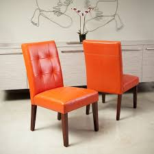 cambridge tufted orange bonded leather dining chair set of 2 by christopher knight home