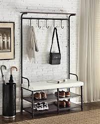 Coat Rack Hallway Amazon Black Metal And White Bonded Leather Entryway Shoe Bench 77