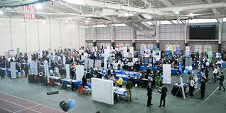 A Tufts Career Fair held in Gantcher Family Sports and Convocation Center.