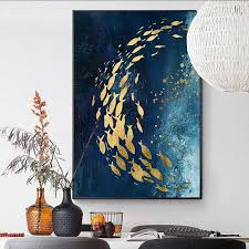 modern abstract goldfish canvas painting blue acrylic texture klaus peter vogt