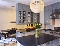 marvelous kitchen design with grey cabinet and black countertop