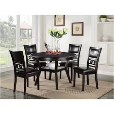 round dining table 5 pc set with dining chair d1701 50s brn new classic furniture gia dining room dinette table