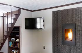 corner mounted tv minimalist look