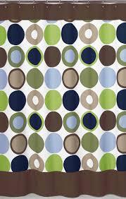 Designer Large Dot Blue Brown Green Fabric Shower Curtain