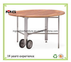 teak outdoor dining furniture round folding table with metal legs