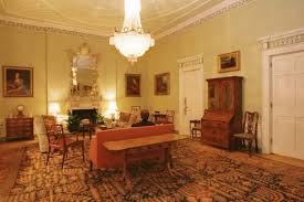 the chandelier suspected of being looted from germany in situ in the drawing room at