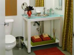 glass top vanity in contemporary bathroom