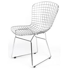 harry bertoia style steel wire chair with leather cushion