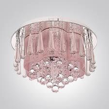 large crystal drops hanging outer pink silken inner shade crystal flush mount lighting