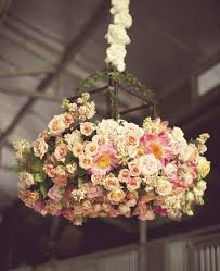 chandelier with flowers for a beautiful wedding day