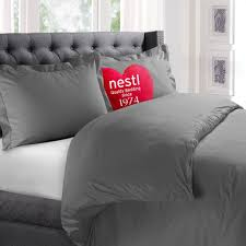 nestl bedding microfiber queen 3 piece duvet cover set with 2 pillow shams charcoal