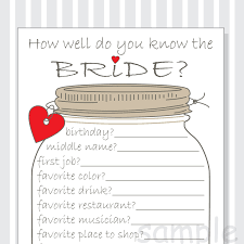 Kitchen Tea Games Know The Bride Game Etsy