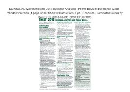project management quick reference guide quick guide to excel download excel business power bi quick