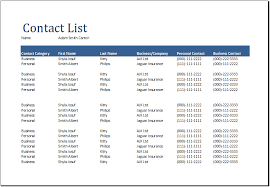 Word Comprehensive Contact List Template Document Templates