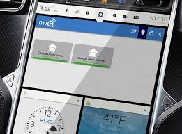 chamberlain s enabled with myq allow you to control your garage door and the lights in your home from your tesla in dash touchscreen