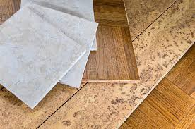 Flooring Sections Of Wood Cork And Tile Stock Photo Image of
