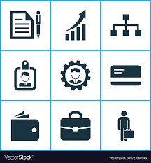 Trade Icons Set With Growing Chart Identification
