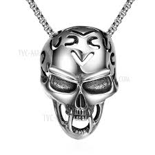 gmyn023 european punk style skull pendant necklace stainless steel chain necklace for men tvc mall com