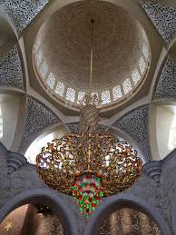 the main prayer hall is dominated by one of the world s largest chandeliers 10 metres in diameter 15 metres in height and weighing twelve tonnes
